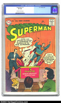 Superman #111 (DC, 1957) CGC VF 8.0 Off-white to white pages. Overstreet 2002 VF 8.0 value = $185