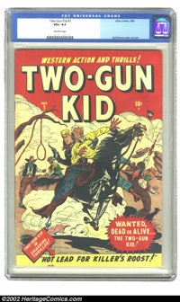 Two-Gun Kid #1 (Marvel, 1948) CGC VG+ 4.5 Off-white pages. Syd Shores cover and art. Overstreet 2002 GD 2.0 value = $105...