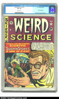 Golden Age (1938-1955):Science Fiction, Weird Science #12 (#1) (EC, 1950) CGC VF+ 8.5 Off-white pages.First issue this title, formerly Saddle Romances. Kurtzma...