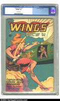 Golden Age (1938-1955):Adventure, Wings Comics #73 (Fiction House, 1946) CGC VF/NM 9.0 Off-white pages. Overstreet 2002 NM 9.4 value = $175. ...