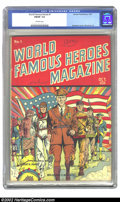 World Famous Heroes #1 (Centaur, 1941) CGC FN/VF 7.0 Off-white pages. Overstreet 2002 N 6.0 value = $348; VF 8.0 value =...