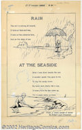 "Original Comic Art:Splash Pages, Alex Blum - Original Art for Classics Illustrated Junior #518Splash Page (Gilberton, 1950s). ""Rain at the Seaside"" by Blum...."