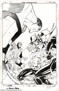 Original Comic Art:Covers, Paschalis Ferry - Original Cover Art for Hero For Hire #11 (Marvel,1997). Iron Fist, Luke Cage, and Deadpool face off again...