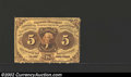 Fractional Currency:First Issue, First Issue 5c, Fr-1229, Choice AU. Scarce perforated issue ...