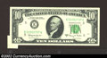 Error Notes:Attached Tabs, 1963-A $10 Federal Reserve Note, Fr-2017-E, Gem CU. An ...