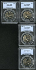 Kennedy Half Dollars: , (4) 2005-D 50C Satin Finish MS66 PCGS.... (Total: 4 Coins)