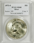 Eisenhower Dollars: , 1973-S $1 Silver MS68 PCGS. PCGS Population (709/4). NGC Census: (92/1). Mintage: 869,400. Numismedia Wsl. Price: $100. (#7...