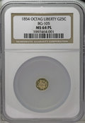 California Fractional Gold: , 1854 25C Liberty Octagonal 25 Cents, BG-105, R.3, MS64 PL NGC. Asparkling and reflective piece that has just the tiniest o...