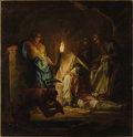 Fine Art - Painting, European:Antique  (Pre 1900), Circle of JEAN RESTOUT II (French 1692-1768). The Entombment OfA Cleric By Torchlight. Oil on canvas. 64 x 62 inches (1...