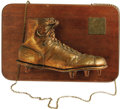 Football Collectibles:Uniforms, 1957 Jim Brown Syracuse University Bronzed Game Worn Cleat. Fantastic gridiron artifact comes to us directly from the Brown...