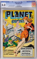Golden Age (1938-1955):Science Fiction, Planet Comics #57 (Fiction House, 1948) CGC VF 8.0 Off-whitepages....