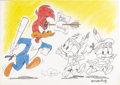 "Original Comic Art:Sketches, Walter Lantz Studios - ""Happy Birthday, Woody Woodpecker"" Illustration Original Art (undated). Although they meant well, Woo..."