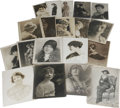 "Movie/TV Memorabilia:Photos, Vintage Photos of Early Female Stars. Set of 19 vintage b&w 8""x 10"" photos of early stage and screen stars, many of them au..."