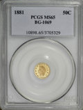 California Fractional Gold, 1881 50C Indian Round 50 Cents, BG-1069, High R.4, MS65 PCGS....
