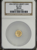 California Fractional Gold, 1854 50C Liberty Octagonal 50 Cents, BG-305, Low R.4, MS64 NGC....