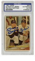 """Autographs:Sports Cards, 1957 Topps Dual-Signed Mickey Mantle and Yogi Berra #407, PSAAuthentic. The popular """"Yankees' Power Hitters"""" #407 card fro..."""