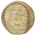 Autographs:Baseballs, 1929 St. Louis Cardinals Game Used Baseball Signed by 5 Cardinals. Phenomenal game used memento dating from 1929 comes to u...