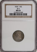 Bust Dimes, 1835 10C MS63 NGC....