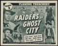 """Movie Posters:Serial, Raiders of Ghost City (Universal, 1944). Title Lobby Card (11"""" X 14"""") Chapter 2--""""Flaming Treachery."""" Serial...."""