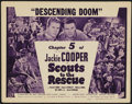 """Movie Posters:Serial, Scouts to the Rescue (Universal, 1939). Title Lobby Card (11"""" X 14"""") Chapter 5 --""""Descending Doom."""" Serial...."""