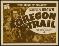 "The Oregon Trail (Universal, 1939). Title Lobby Card (11"" X 14"") Chapter 3 --""The Brink of Disaster.""..."