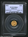 Commemorative Gold: , 1903 $1 Louisiana Purchase/Jefferson MS66 PCGS. ...