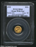 Commemorative Gold: , 1922 $1 Grant with Star MS66 PCGS. ...