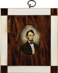 Political:3D & Other Display (pre-1896), Abraham Lincoln: Hand Painted 19th Century Portrait on Ivory....