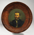 Political:3D & Other Display (pre-1896), Ulysses S. Grant: Hand Painted Portrait on Woodlike Plate....