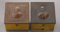 Political:Miscellaneous Political, Garfield & Arthur: Matched Pair of Wood Collar Boxes with Gutta Percha Portrait Lids.... (Total: 2 Items)