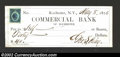 Miscellaneous:Checks, 1876 Check from the Commercial Bank of Rochester, NY, XF, with ...