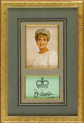 Royal Memorabilia:British, Framed Photograph of Princess Diana with Signature. Circa1996. Depicting Diana in a cream colored pearl-encrusted gow...