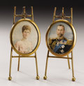 Decorative Arts, British:Other , Pair of Portrait Miniatures of George V and Queen Mary. Circa1915. Printed on paper, the monarch wearing full court u...(Total: 2 Items)