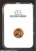 Lincoln Cents: , 1941 1C MS67 Red NGC. ...