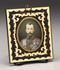 Decorative Arts, Continental, An Ivory Portrait Miniature of Nicholas II. 20th century. Aminiature on ivory of Nicholas II, Tsar of Russia (r. 1896...