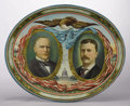 Political:3D & Other Display (1896-present), McKinley & Roosevelt: Large Oval Jugate Lithographed Tin Tray,...