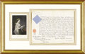Royal Memorabilia, Signed Document from Queen Victoria. The document signed byVictoria, Queen of Great Britain (r. 1837-1901) and si...