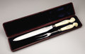 Decorative Arts, Continental:Other , Royal Victoria and Albert Ivory-Handled Carving Set . English,probably commemorating the Royal wedding of 1840 . A ca...(Total: 3 Items)