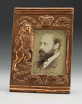 Decorative Arts, Continental:Other , King Edward VII Repoussé Commemorative Copper Frame.English, circa 1901. Enclosing photographic postcard ...