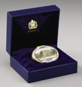 Royal Memorabilia:British, Prince of Wales and Princess Diana Halcyon Days PorcelainPresentation Christmas Box. Oval, the hinged cover decorated wit...