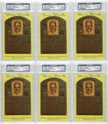 Autographs:Post Cards, Robin Roberts Signed Gold Hall of Fame Plaques PSA-Graded Group Lotof 6. The Phillies' great right-handed hurler Robin Rob...