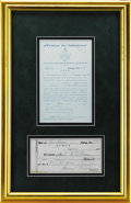Autographs:U.S. Presidents, Harry S. Truman: Early Signed Masonic Document....