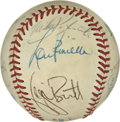 Autographs:Baseballs, Baseball Stars Multi-Signed Baseball. A total of 11 former stars inbaseball, many involved with New York Yankees in one wa...