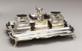 Silver Smalls:Other , British Silver Presentation Double Inkwell. 1910 . Therectangular shaped tray with two pen trays, mounted with two si...(Total: 4 Items)