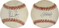 Autographs:Baseballs, Nolan Ryan and John Smoltz Single Signed Baseballs Lot of 2. Two ofthe most dominant hurlers in recent memory have each a...