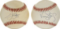 Autographs:Baseballs, Frank Thomas and Darryl Strawberry Single Signed Baseballs Lot of2. Two of the most prolific sluggers of their respective ...