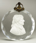 Political:3D & Other Display (pre-1896), Thomas Jefferson: Supremely Rare Large Sulfide Portrait in a Beveled Crystal with Original Brass Suspension Loop. ...