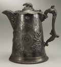 Political:3D & Other Display (pre-1896), Abraham Lincoln: Massive 1864-Dated Silver Plate Water Pitcher with His Profile, and the California Bear as Finial on the Hing...