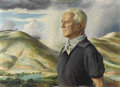 Fine Art - Painting, American:Contemporary   (1950 to present)  , PETER HURD (American 1904-1984). Portrait of J. Noel Macy withLandscape Background, 1965. Egg tempera on gesso panel. 2...