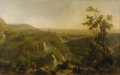 Fine Art - Painting, European:Antique  (Pre 1900), FRANZ KNÉBEL the Younger (Swiss 1809-1877). View Of Tivoli, 1871. Oil on canvas. 39-3/4 x 64-3/4 inches (101 x 164.5 cm)...